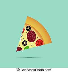 Pizza slice icon, vector illustration