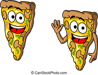 Pizza slice in cartoon style