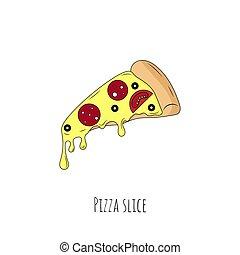 Pizza slice. Isolated object on white. Vector cartoon illustration.