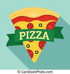 Pizza slice logo, flat style