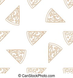 pizza slice outline seamless pattern