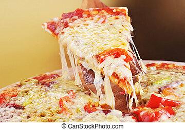 pizza  slice - tasty meat and vegetables pizza