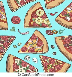 Pizza slice seamless pattern - Pizza pattern. Pizza slice...