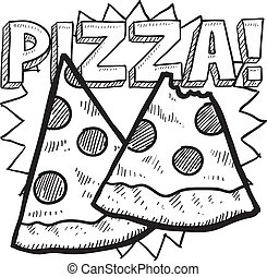 Pizza slice sketch - Doodle style pizza illustration with...