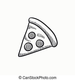 Pizza slice sketch icon. - Pizza slice vector sketch icon...