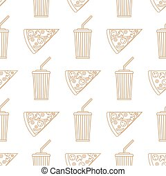 pizza slice soda cold drink paper cup outline seamless pattern