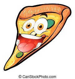 Pizza slice with funny face
