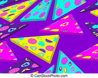 Pizza slices seamless pattern in zine culture style with pop art elements. Isometric flat 3d design. Vector illustration