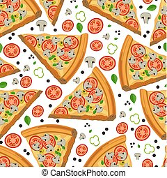 Pizza slices with tomatoes and mushrooms seamless pattern