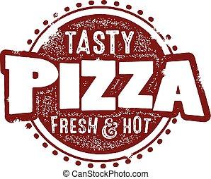 pizza, smaklig, underteckna