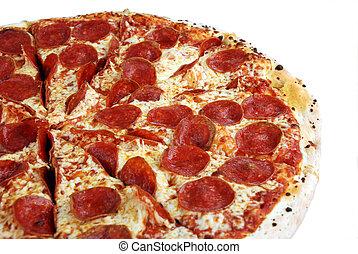 pizza, smakowity, odizolowany, pepperoni