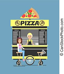 Pizza Stand with by It People Vector Illustration