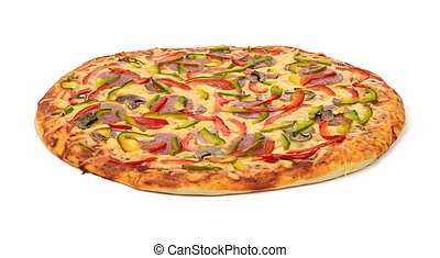 Pizza - Delicious italian pizza with cheese, salami, bell...