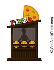 Pizza street food vendor booth stand or pizzeria fastfood counter vector flat design isolated icon
