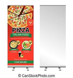 pizza, strengelen, spandoek, stander, ontwerp