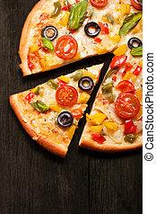 pizza, su, legno, fondo