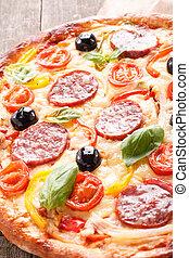pizza, su, tessuto legno, fondo
