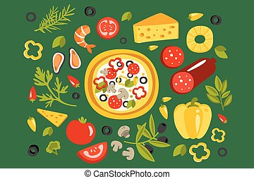 Pizza Surrounded With Different Ingredients For It, Italian Cuisine Dish Preparation And Cooking Illustration