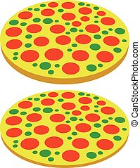 Pizza symbols, pizza icons. Perspective, 2 versions