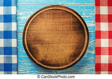 pizza, tábua cortante, em, madeira