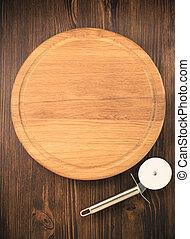 pizza, tagliere, su, legno