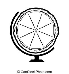 Pizza The Globe. Design Element. Vector Illustration. Isolated On White