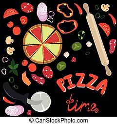 Pizza time. Ingredients for pizza. Peppercorn, vegetables and mushrooms. Pizza knife and rolling pin. Lettering on a black background. Design for logo, menu, flyers.