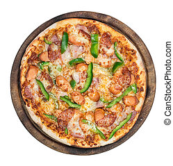 Pizza top view on white background