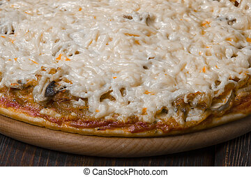 pizza top view with copy space