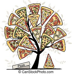Pizza tree, sketch for your design. Vector illustration