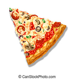 Pizza triangle shape, with mozzarella cheese and several ingredients on it. Airbrush illustration. On white background with clipping path included.