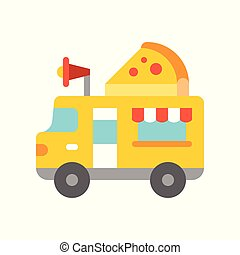 Pizza truck vector, Food truck flat style icon