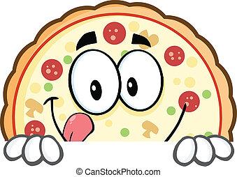 pizza, underteckna, över, le