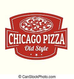 pizza, underteckna, chicago, stämpel, eller