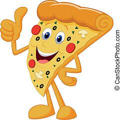 pizza, uppe, lycklig, tumme, tecknad film