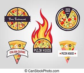 pizza, vecteur, labels., logos, icônes