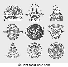 Pizza vector icons set templates for fast food or italian ...