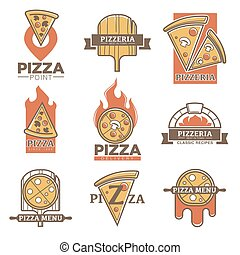 Pizza vector templates for fast food or italian pizzeria - ...