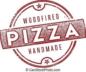 pizza, ved, avfyrat, underteckna