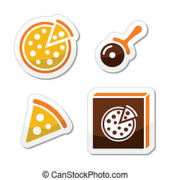 pizza, vetorial, jogo, isolado, ícones