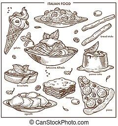 pizza, vettore, piatti, dessert, pasta, cusine, italiano, icone, set, schizzo, carne