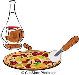 pizza, vino