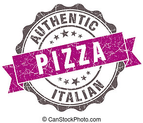 Pizza violet grunge retro style isolated seal