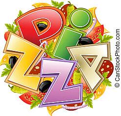 pizza, voedingsmiddelen, concept