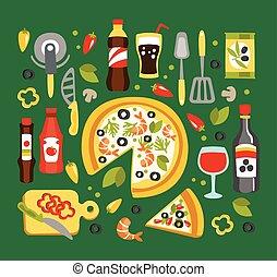 pizza, vorbereitung, und, essende, elemente, italienische küche, tellergericht, mit, verbunden, geräte, getrãnke, und, soßen