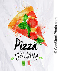 Pizza watercolor poster hand drawn with stains and smudges pizza italiana