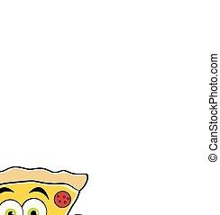pizza, waving., snede, spotprent