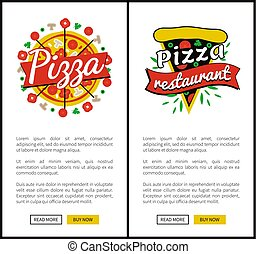 pizza, wektor, zbiór, ilustracja, restauracja