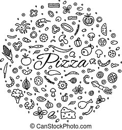 Pizza with a set of ingredients