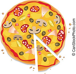 pizza with a slice
